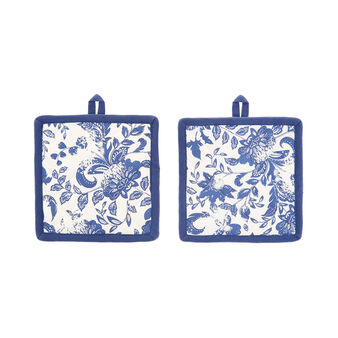 2-pack pot holders in 100% cotton with floral print