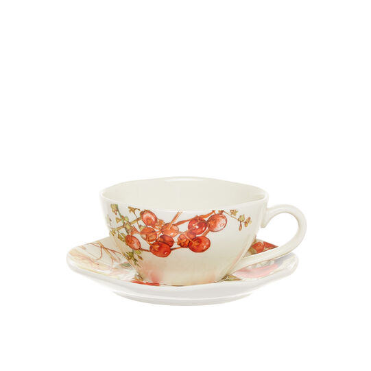 New Bone China teacup with flowers motif