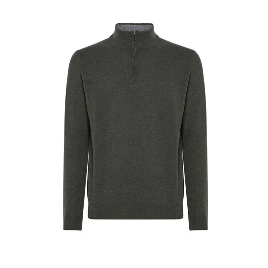 High neck pullover in pure wool