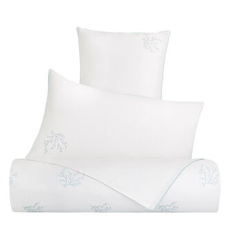 Cotton percale duvet cover with coral embroidery
