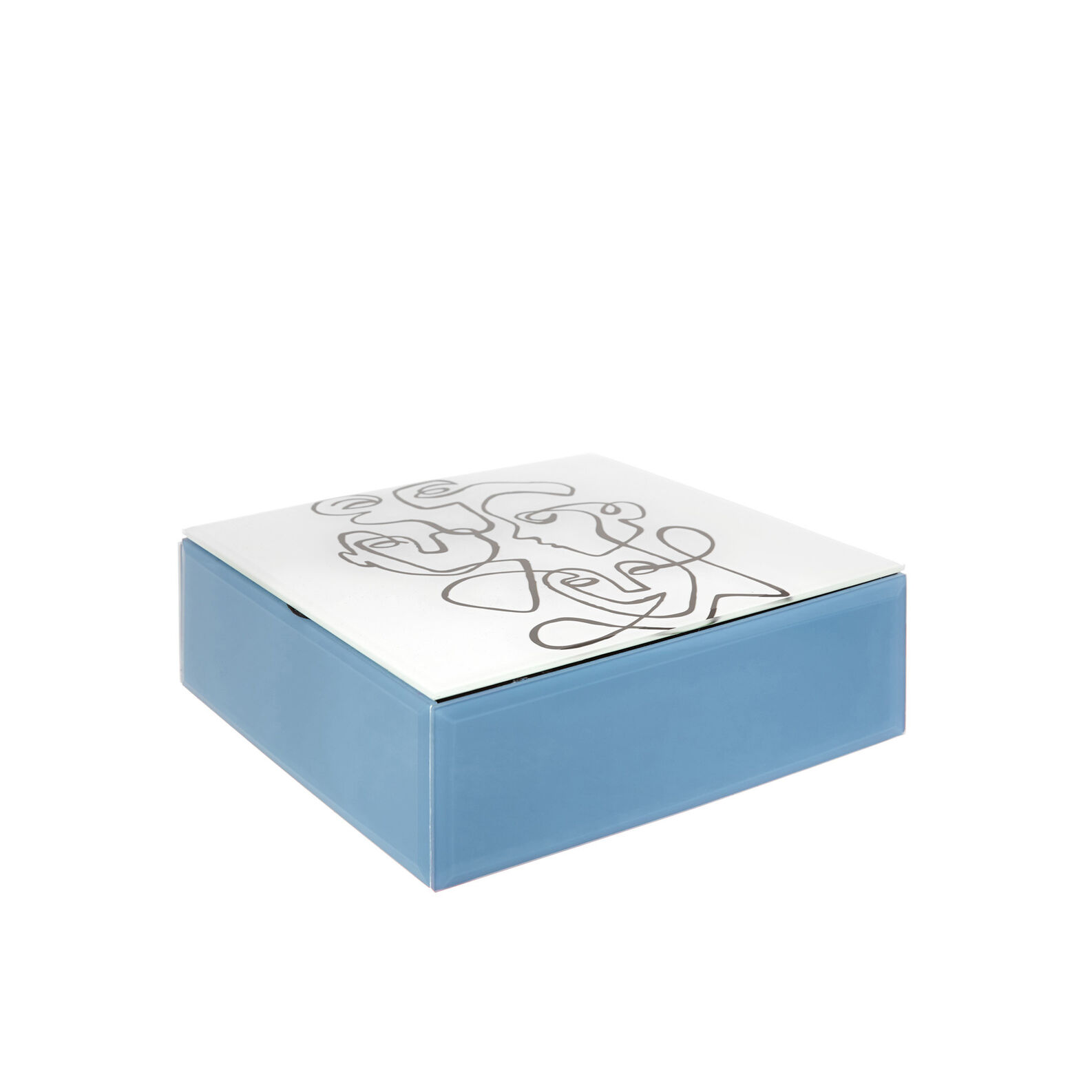 Glass jewellery box with abstract motif