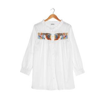 Camicia cotone ricami e perline