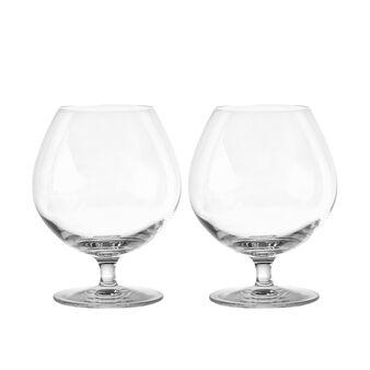 Set of 2 glass brandy goblets