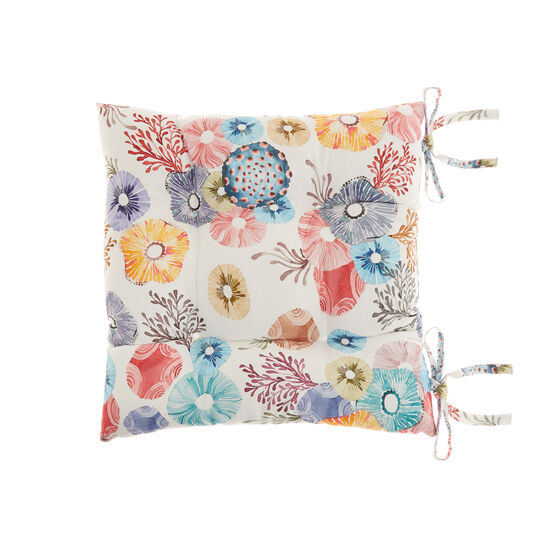 Seat pad in cotton twill with flowers print