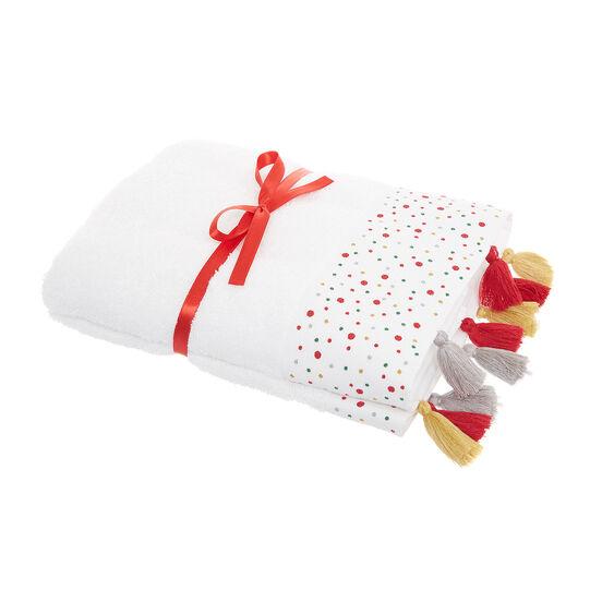 Set 2 asciugamani ricamo pois e nappine