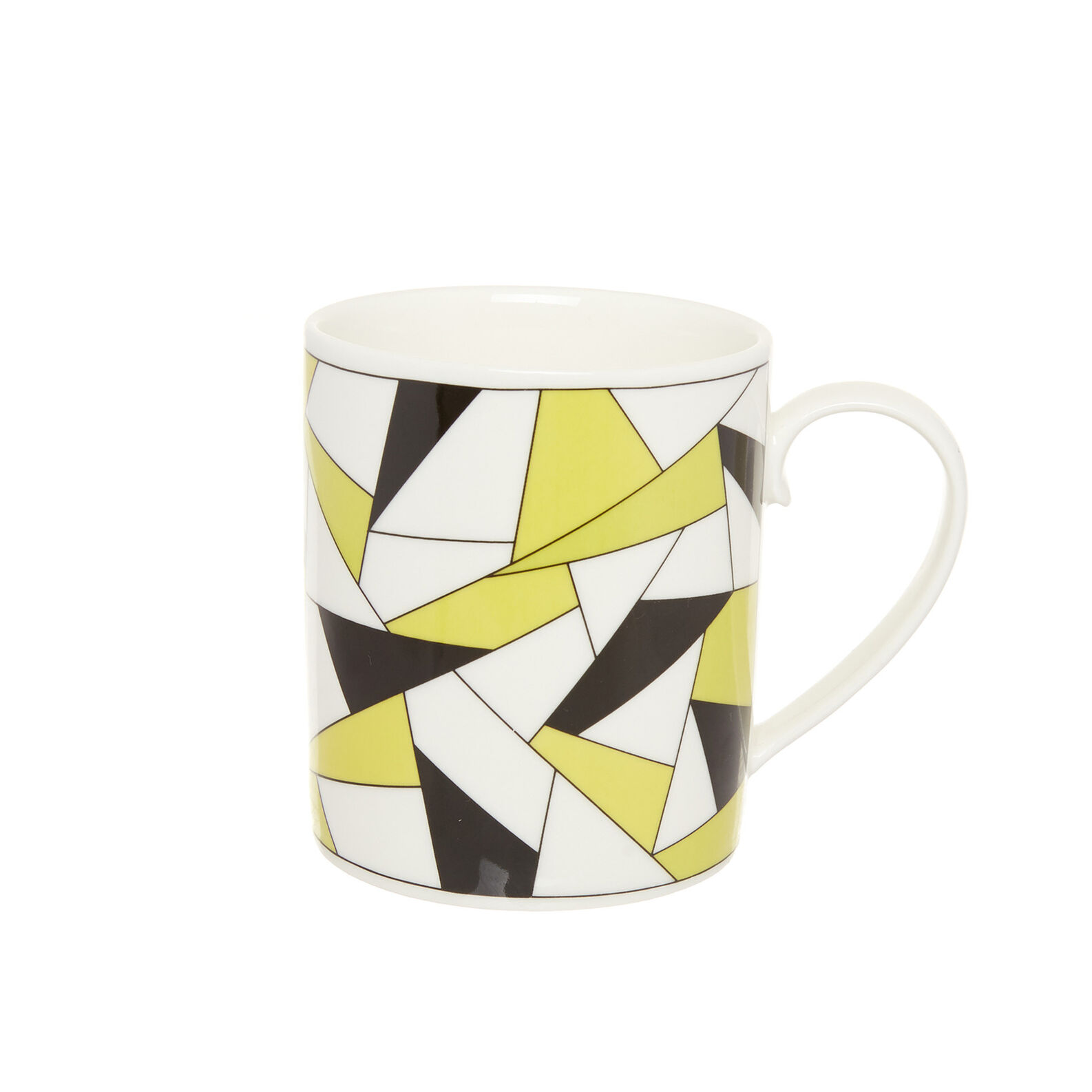 Porcelain mug with geometric decoration