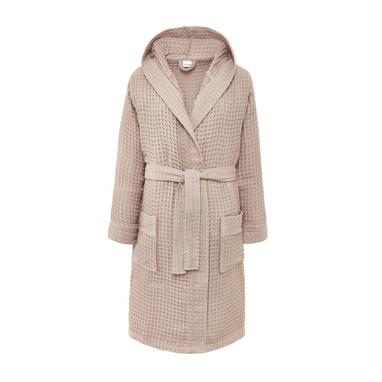 Honeycomb bathrobe in pure cotton solid colour