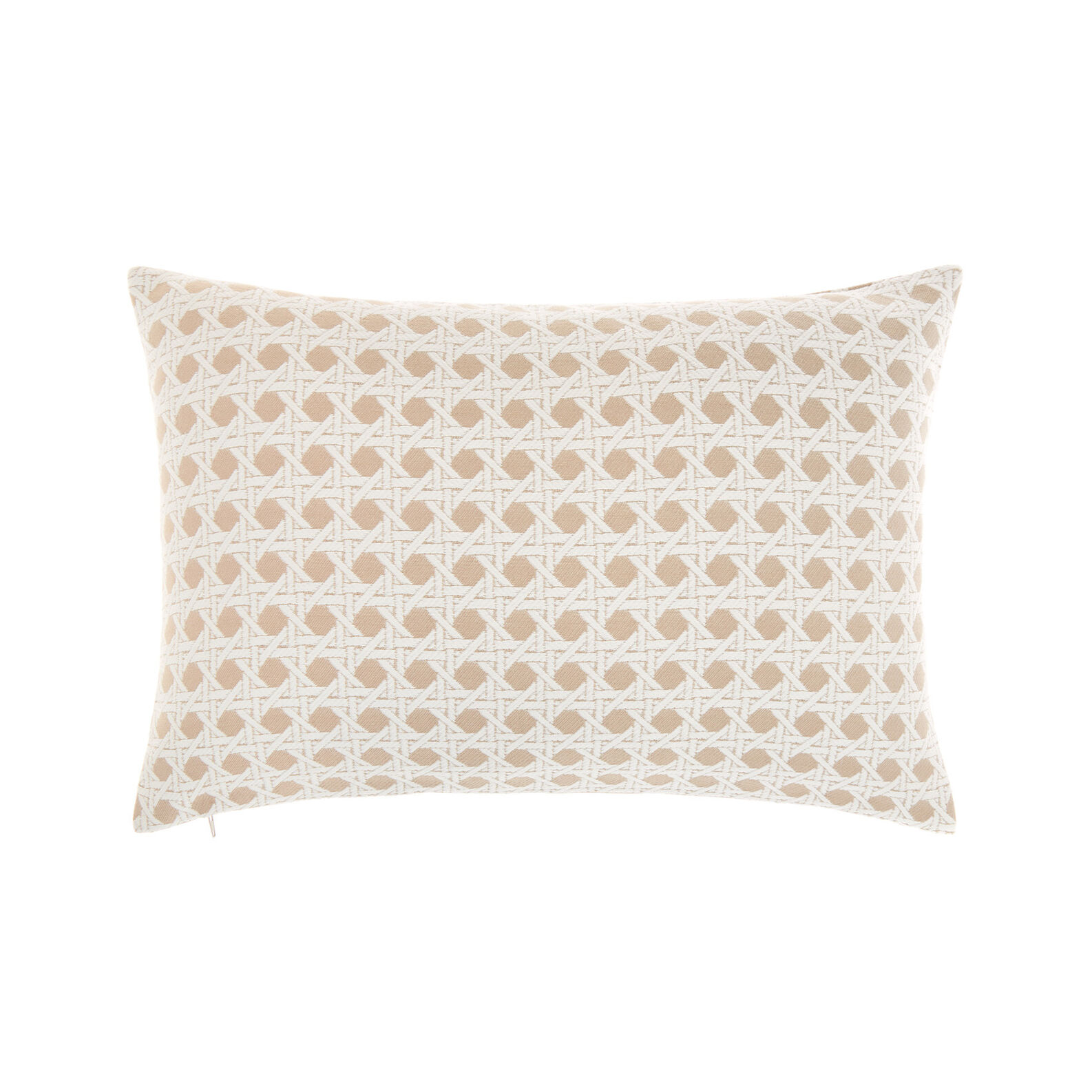 Braided jacquard cushion with rattan effect 35x55cm