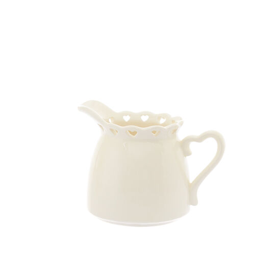 Ceramic milk jug with openwork heart design