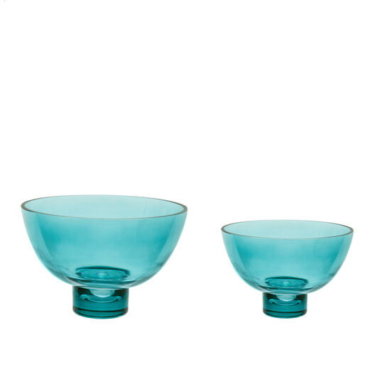 Coloured glass bowl with stem