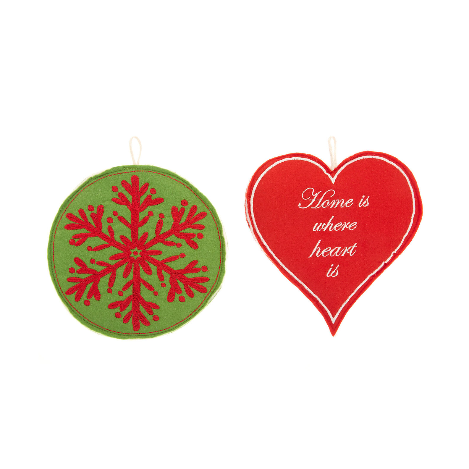 Set of 2 heart and snowflakes decorations in felt