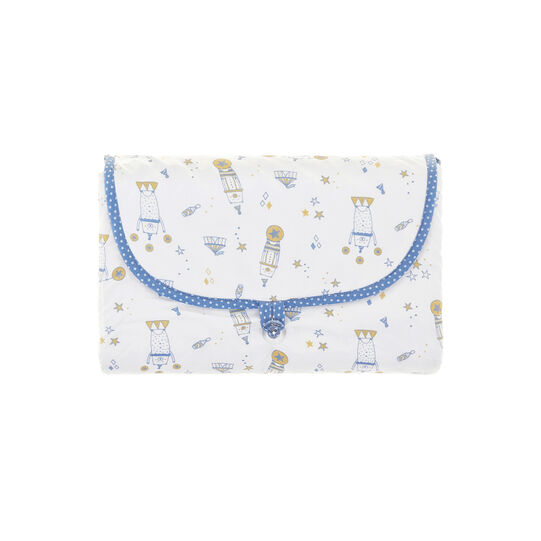 100% cotton percale folding changing mat with teddy bears and polka dots