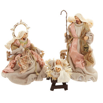 Hand-made Holy family in pink garments