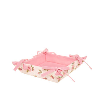 Square cotton basket with rosebud print