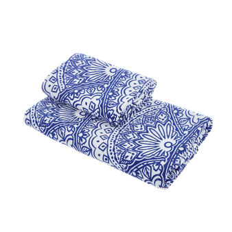 100% cotton velour towel with fan pattern print