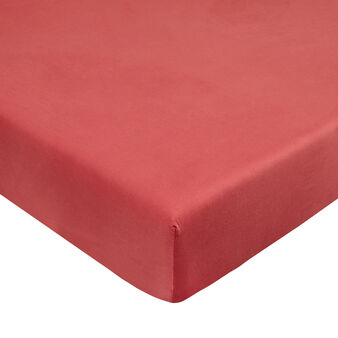 Solid colour fitted sheet in cotton satin