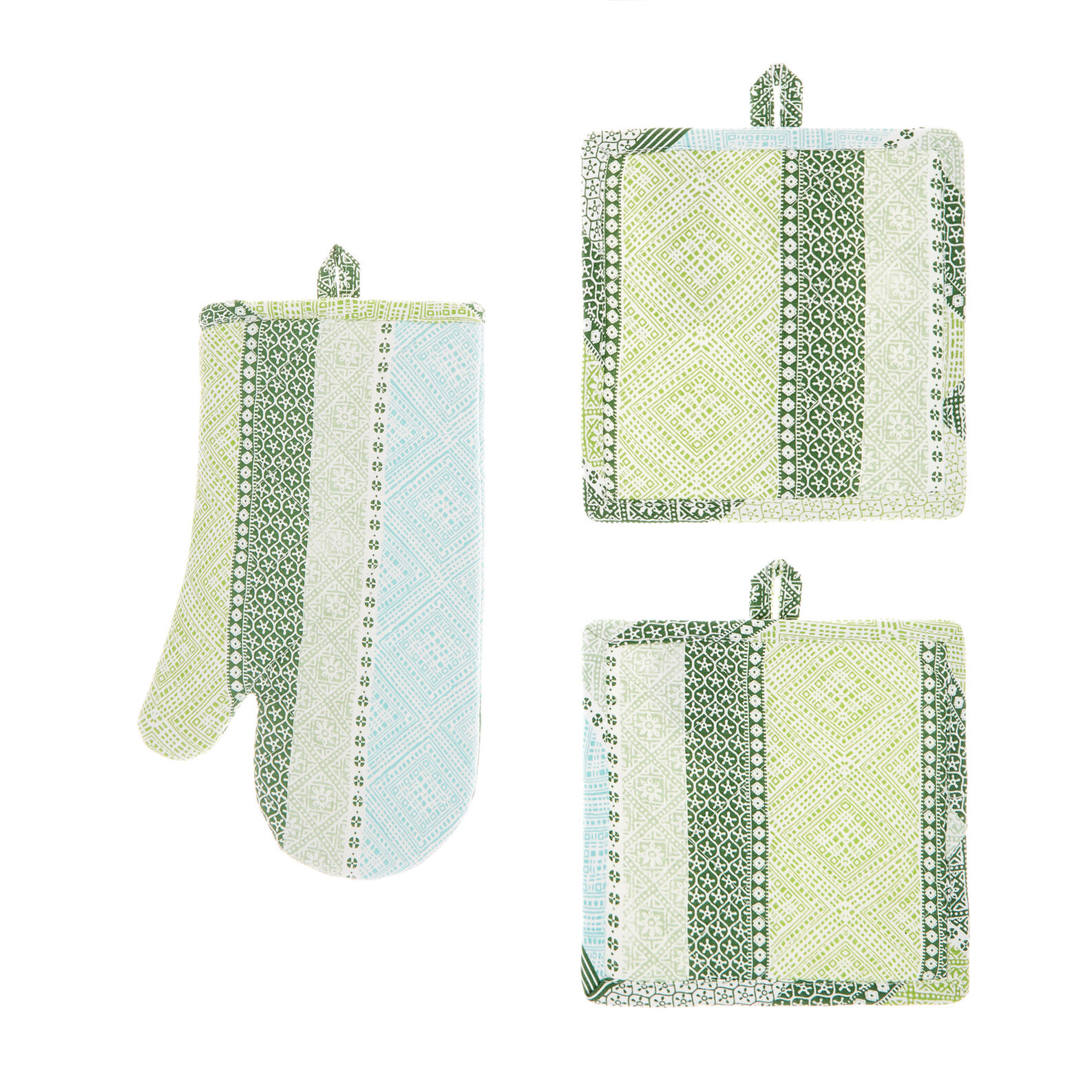Set of 2 pot holders and an oven mitt in 100% cotton with multi-striped print