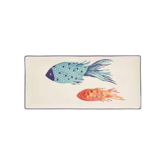 Piatto da portata ceramica decoro pesci