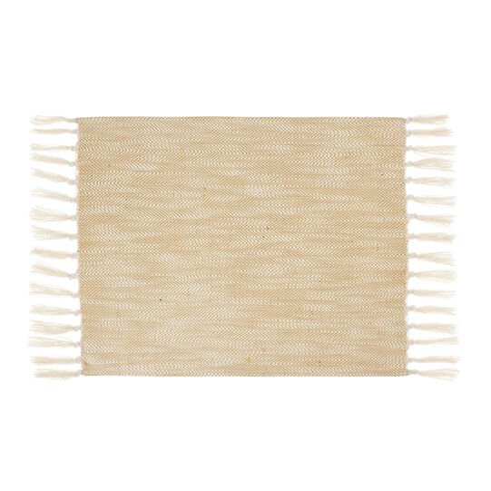 Cotton and jute table mat with fringe