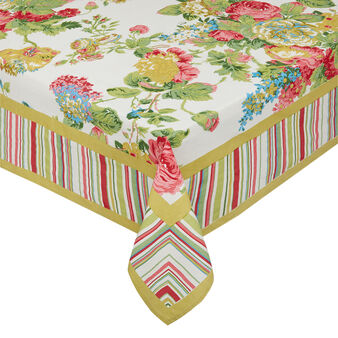 100% cotton tablecloth with flowers and stripes print