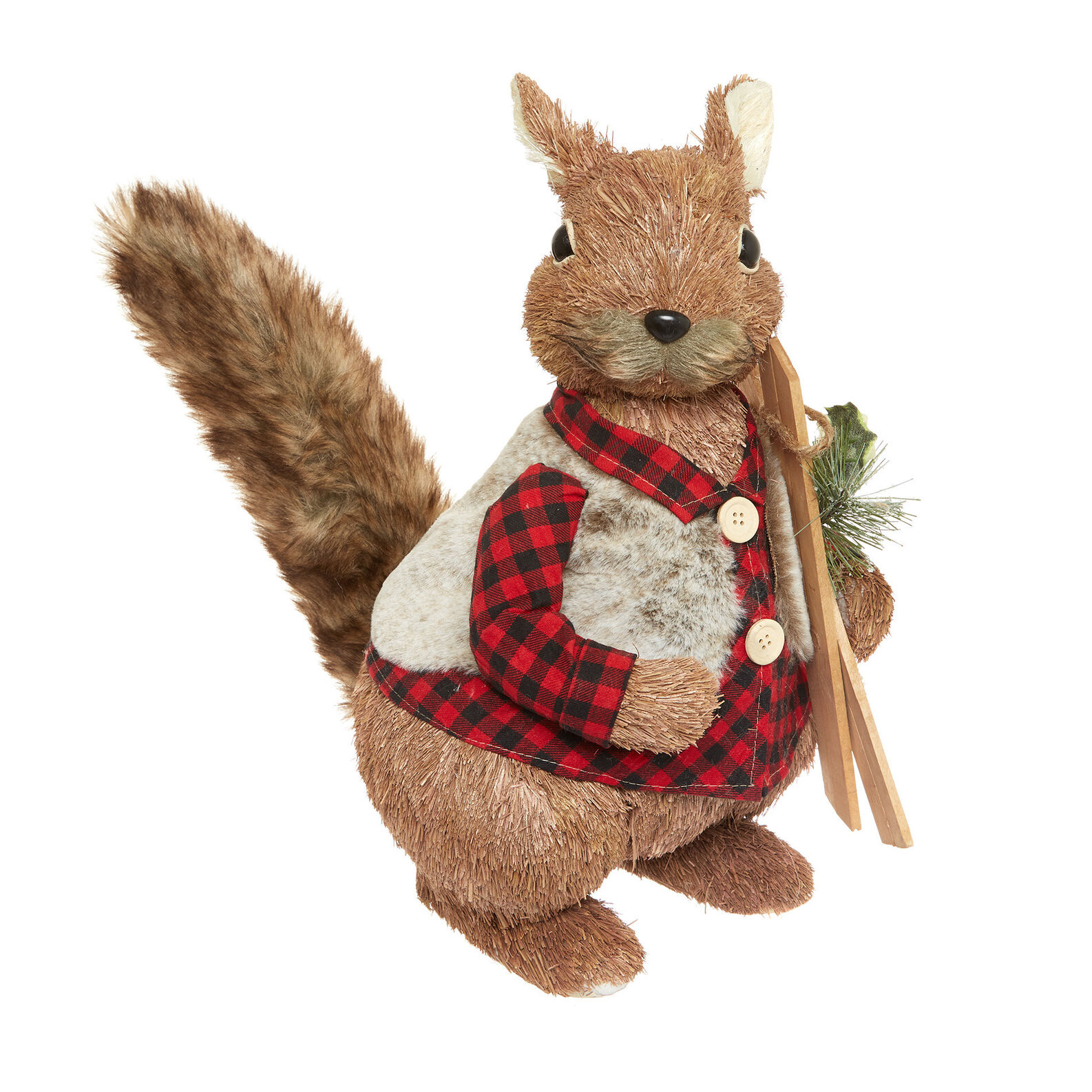 Decorative squirrel on skis soft toy