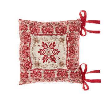 Gobelin fabric seat pad with Christmas motif