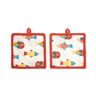 2-pack pot holders in 100% cotton with fish print