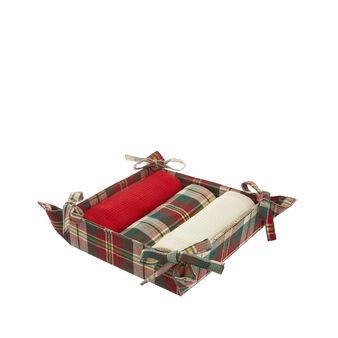 Basket and 3 tea towels in tartan cotton twill