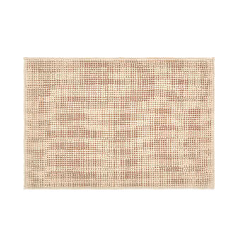 Bath mat in solid colour shaggy microfibre.