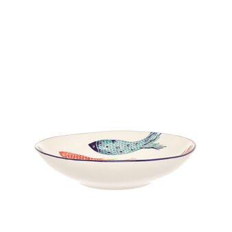 Ceramic soup bowl with fish decoration