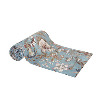 Cotton percale throw with floral print