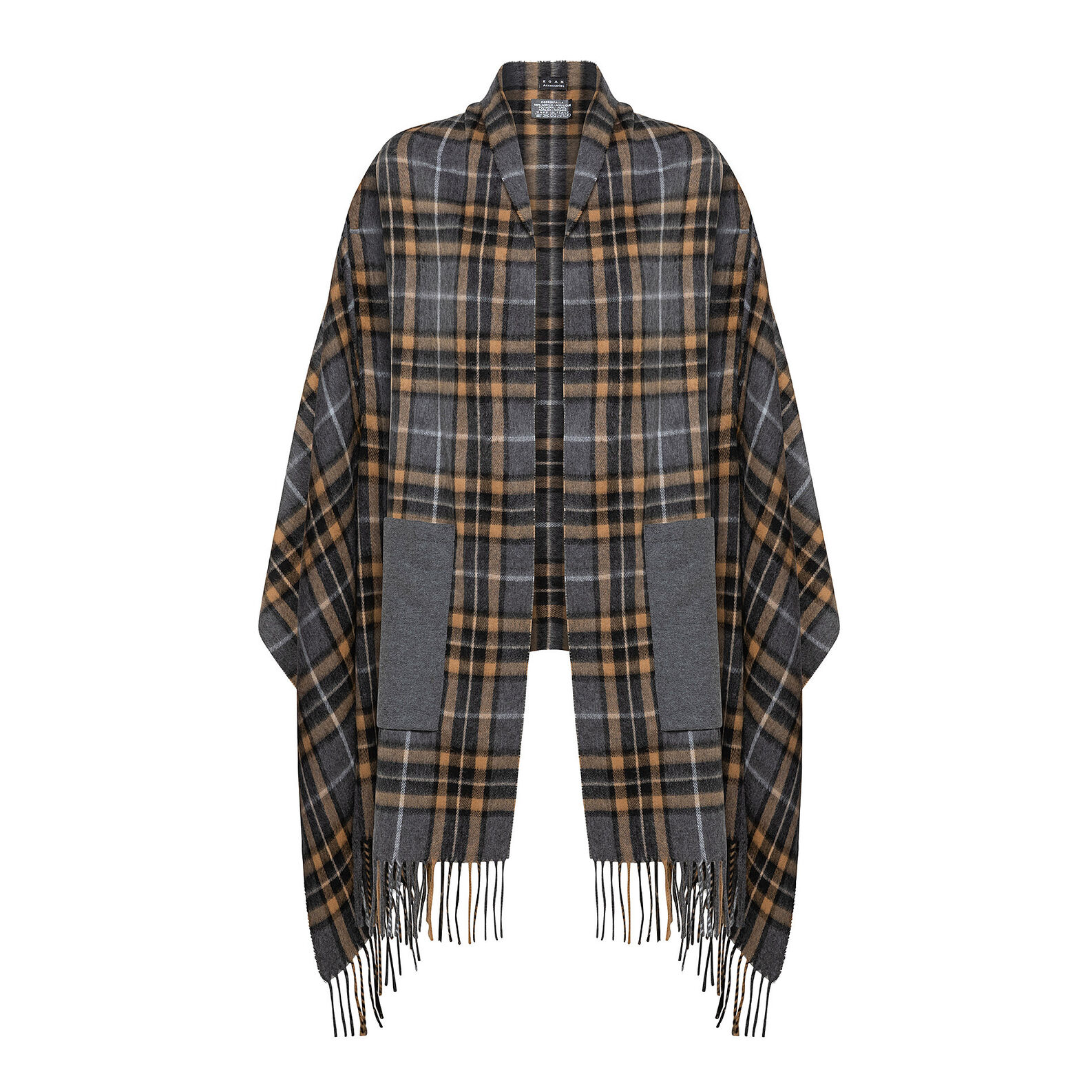 Koan fringed check cape