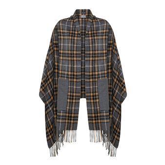 Koan fringed check cape