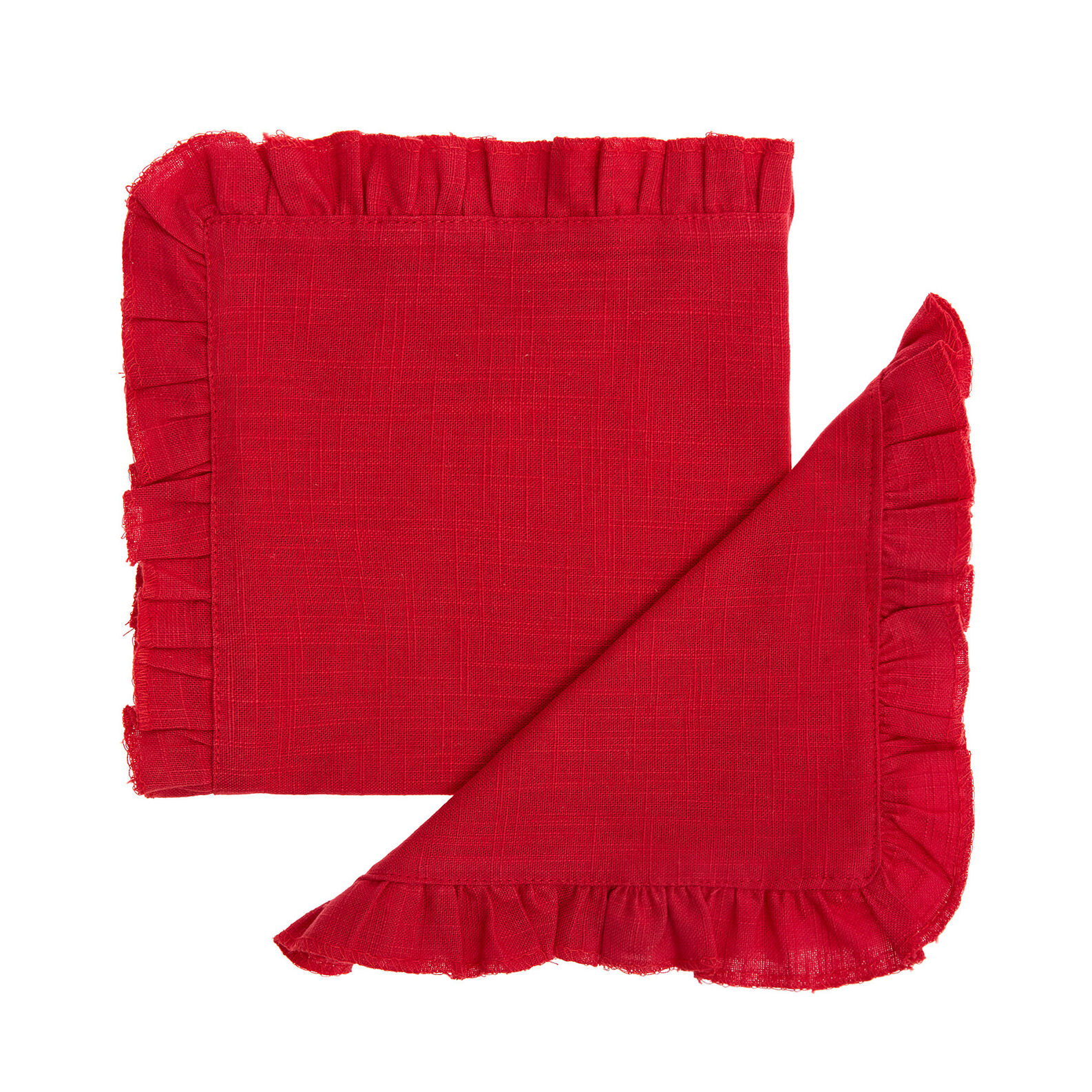 Set of 2 napkins in 100% cotton with flounce trim