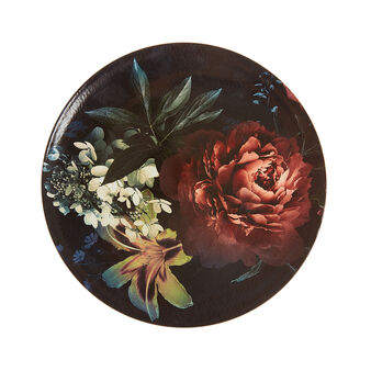 Plastic charger plate with flowers motif