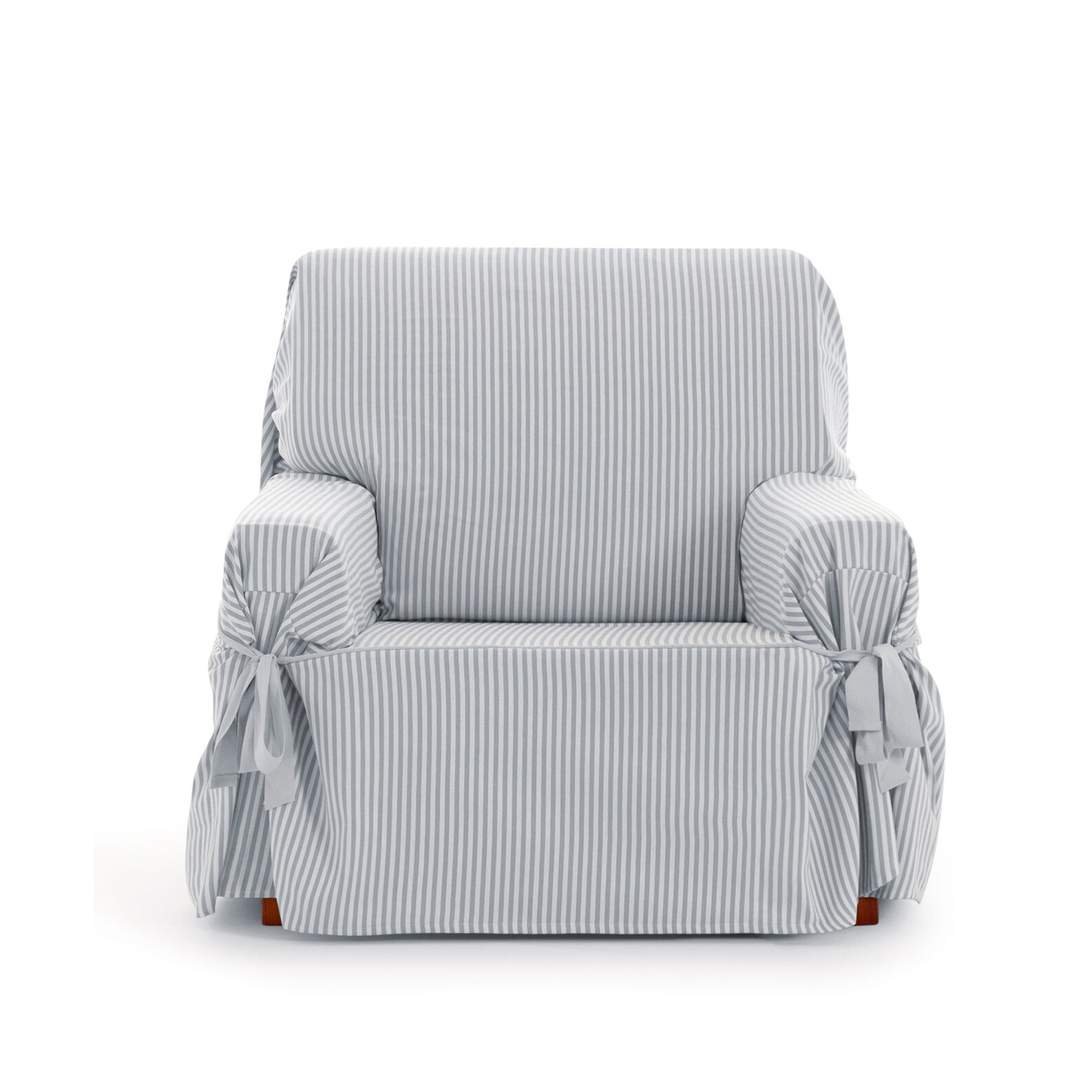 Striped fabric armchair cover
