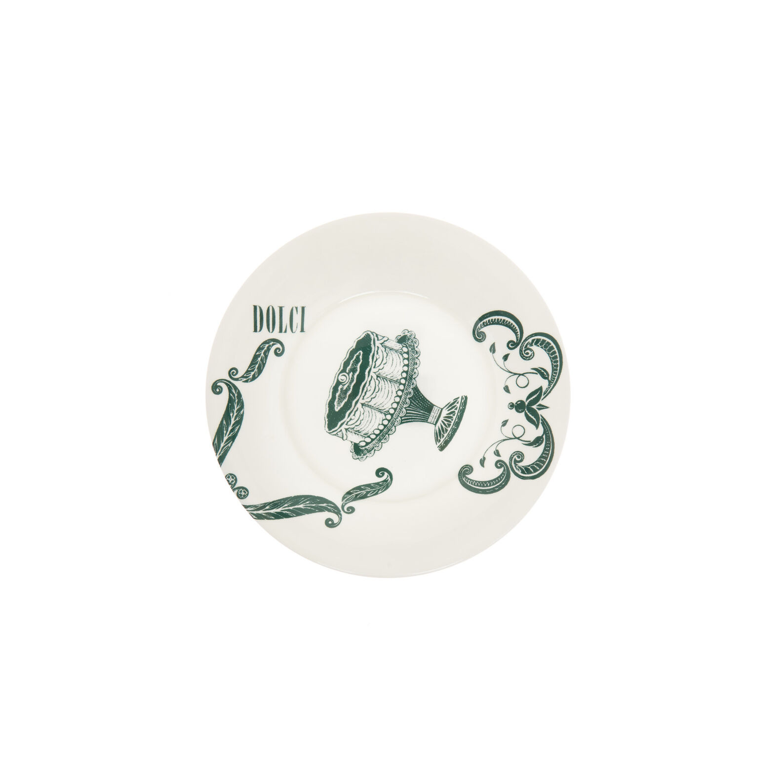 Fine bone china side plate with vintage La Cucina Italiana decoration