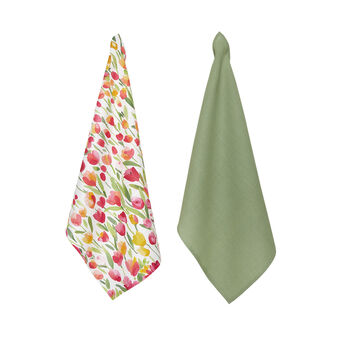 Set 2 strofinacci puro cotone stampa tulipani