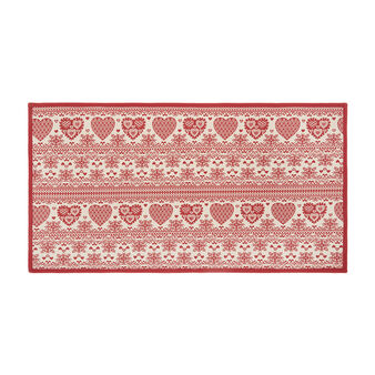 Gobelin kitchen mat with hearts motif