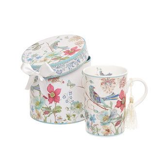 Mug new bone china decoro uccellino