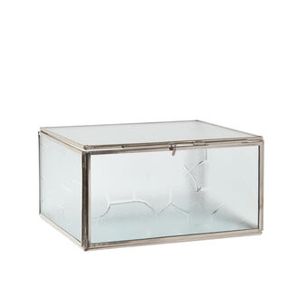 Jewellery box made of glass and metal