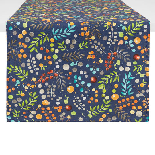 Water-repellent cotton twill table runner with flowers print
