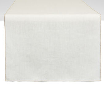 Pure linen table runner with lurex edge