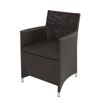 Slim armchair in polyester and aluminium