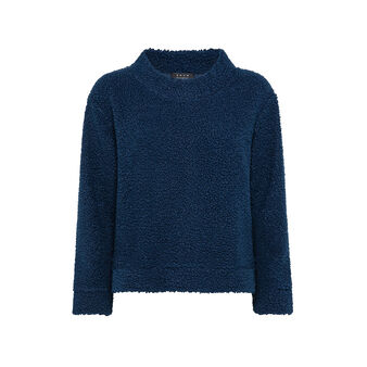 Wide neck teddy sweater