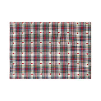 Table mat in 100% cotton with tartan and hearts motif