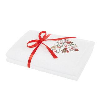 Set 2 asciugamani ricamo cuore