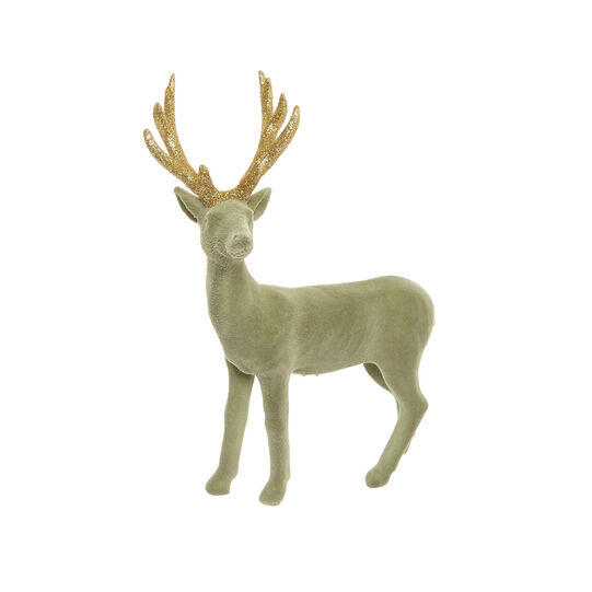 Velvet-effect deer decoration