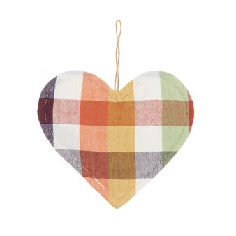 Heart-shaped check pot holder in 100% cotton