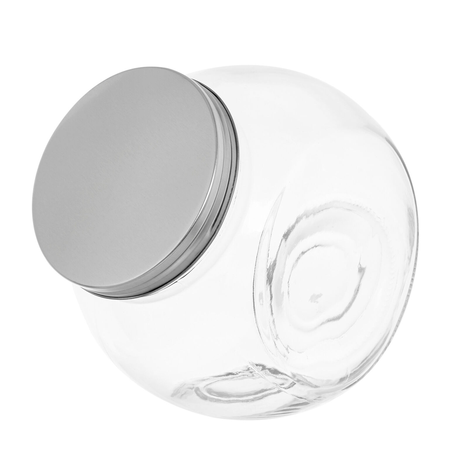 Clear glass biscuit barrel